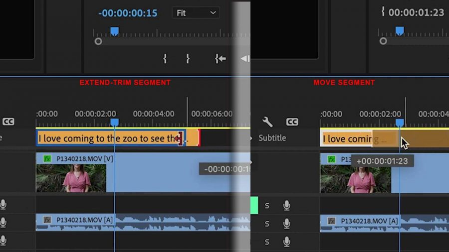 Extend Trim MoveThe caption and subtitle workflow has been greatly improved in Adobe Premiere Pro 2021. Follow these quick and simple steps to add professional quality captions or subtitles to your videos. Create New Caption Track Click on Captions Button at top Or if that is not visible, click on Windows > Workspace > Captions (Insert click on Captions) In the text panel, click on Create New Caption Track button. Choose Subtitle or Caption Click on Plus button. (Insert New Caption) Manually type text. It will become a segment in your timeline. (Insert CaptionText) Extend and trim the caption with click and drag of the segment edge, and move the caption as you move all other segments with click and drag of entire segment. (Insert extend-trim-move) Create another caption by moving the blue line to the end of the caption segment, click in the empty area, then click on the plus sign. Change Caption Appearance Select a Caption segment. In Essential Graphics panel (which should already be open), you can: Change the font size and type Change the position by choosing a zone, and fine tune location within the zone by adjusting the numbers Note: Usually Subtitles are placed at bottom center of videos. Change the color of the font, with the Fill tool Add Background by selecting background color, opacity and how much space it fills around text. Add Shadow (which improves visibility of the text) (Insert Essential Graphics Panel with letters marking each option) Change Appearance Through Entire Timeline Go to Essential Graphics Panel > Track Style Change to create style Name it, if you want to. Click OK This will set the style for all your caption segments in your video (Insert Tracks Style) Importing Captions Created Separately (Importing SRT file) Click File > Import. Choose your srt file. Click Import Find it in your Project panel. Drag it into your timeline. (Insert ImportDrag) Choose when captions will start. Source timecode - indicate time on track Playhead position - wher