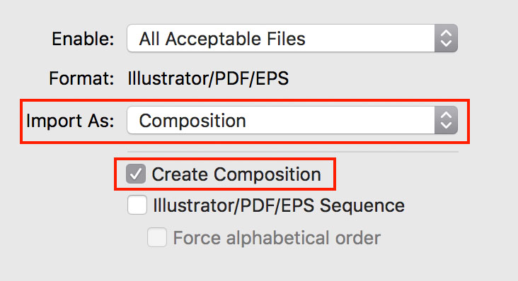 Import options for Illustrator to After Effects